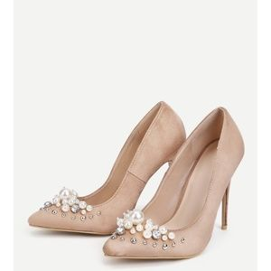 Apricot Suede Pointed Toe Stiletto Pumps